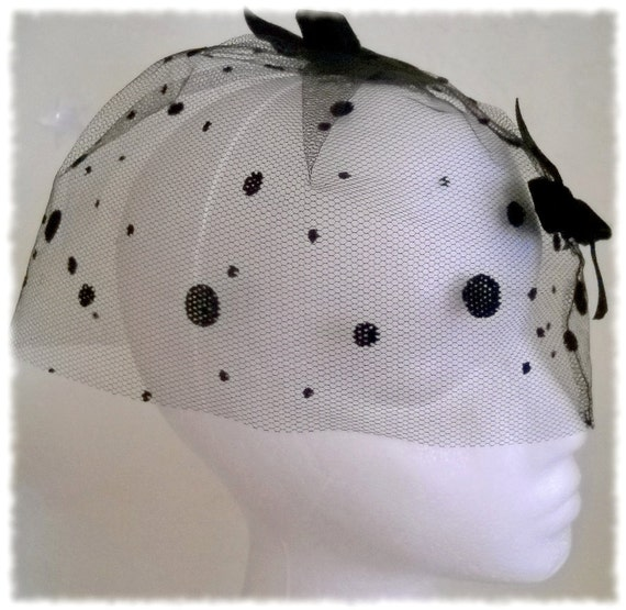 Veil Hat Birdcage Hat with Black Dots and Black Ribbons