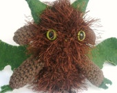 Amigurumi Dragon, Brown and Green Plush