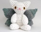 Amigurumi Cat Fairy, White and Gray
