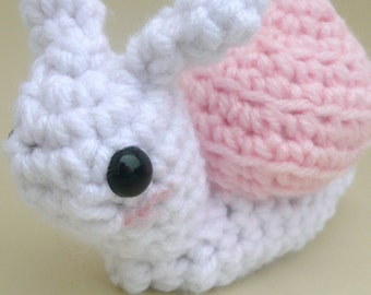 pink and white snail crochet amigurumi