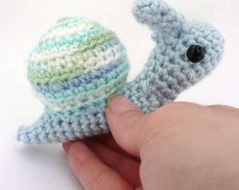 blue and green snail amigurumi