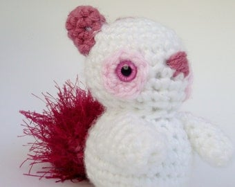 Amigurumi Squirrel, White, Pink and Magenta