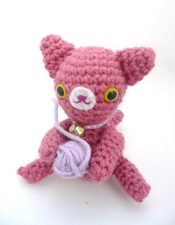Magenta Cat Amigurumi with Yarnball Plush