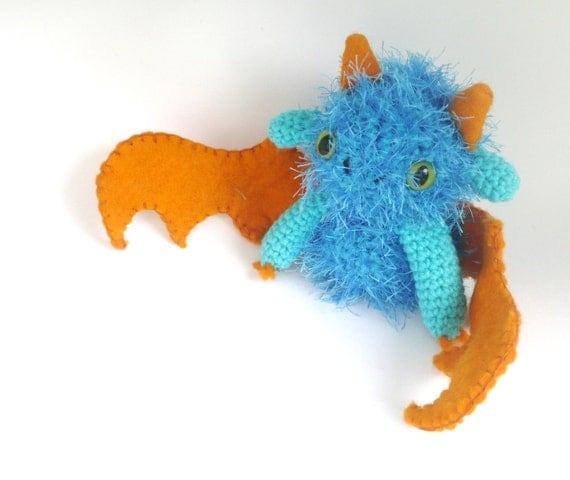 blue and orange dragon crochet amigurumi