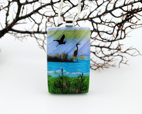 Fused Dichroic Glass Pendant - Heron Lake