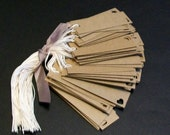 Kraft Tags... Small Rectangle with heart... price tags... gift tags.... merchandise tags... rustic  hang tags... rustic wedding tags