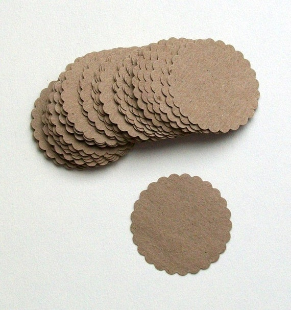 Kraft Scalloped Circles... Tags... merchandise tags... scrapbooking... card making... paper crafts... embellishments... Reserved for Amy...