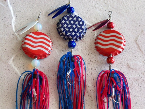 Patriotic  Mens Gift for Him Fishing Lure 3pk- The Original Spinning Bottle Cap Fishing Lures
