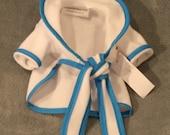 Doggie Robe, white fleece with turquoise trim, XS