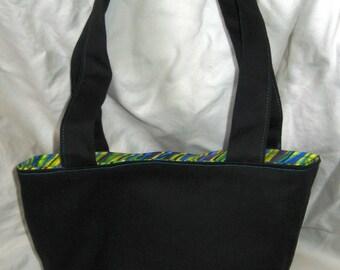 Handbag, black with citrus-y lining
