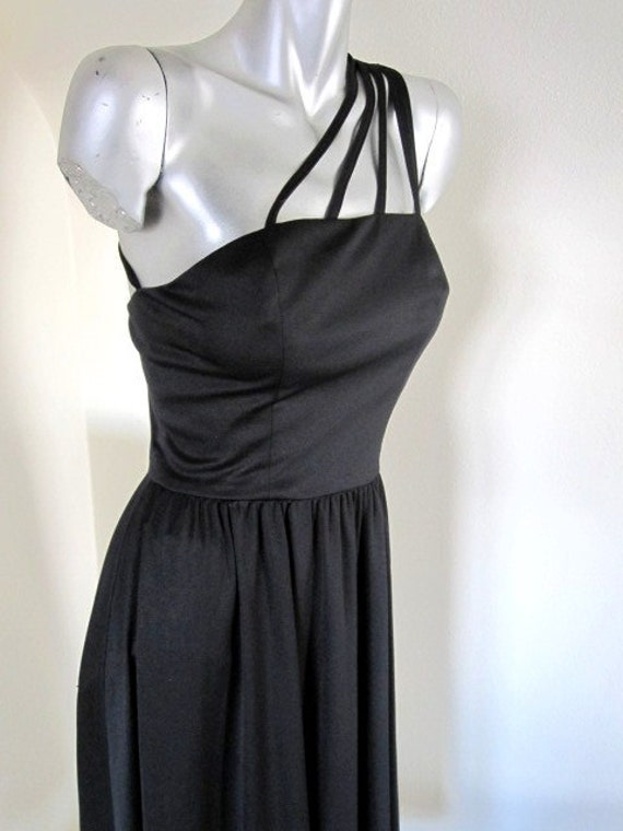 Vintage Black Seventies Disco Dress with Shoulder Strap Detail
