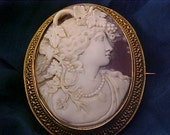 Cameo Goddess Wine Bacchante RESERVED For Mike Elmurranie High Relief VERMEIL Frame 14K