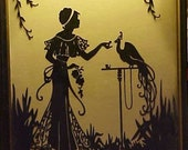 Vintage Victorian Silhouette Picture Lady & Peacock on Glass 50% off wood Frame