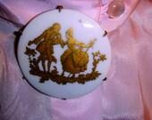 Vintage Brooch Limoges France Milk Glass Porcelain ON Sale Gold Victorian Gentleman & Crinoline Lady Romantic Ecochics