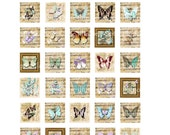 INSTANT DOWNLOAD - Whimsical Dancing Butterflies - 1x1 inch Scrabble Tile Pendants, Scrapbooking, Journaling, Card Supplies1.75