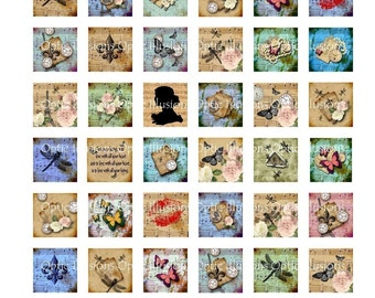 INSTANT DOWNLOAD -- Sabby Chic Vintage Music Squares    -    1 x 1 - Great Scrabble Tile Pendants   1.00