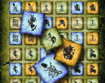 Tribal Zodiac Squares - 1 x 1 inch - INSTANT DOWNLOAD - Charms, Pendants, Scrapbooking2.50