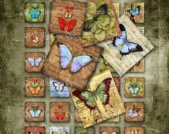 Old World Butterfly Collection - 1x1 inch - Charms, Pendants, Scrapbooking, Card Supplies - INSTANT DOWNLOAD -2.50