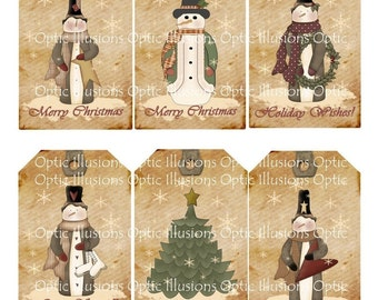 INSTANT DOWNLOAD - Christmas Gift Tags - Set of 6 - 2.5 x 4 inch. Extra sheet for the backside of your tags  2.50