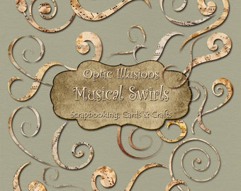 Musical Swirls - 34 Musical Swirls - Clip Art - Digital Scrapbooking, Cards and Crafts, Commerical Use - INSTANT DOWNLOAD -1.75