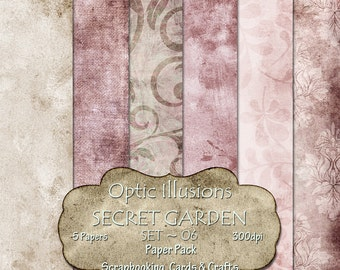 Secret Garden - Set 06 - Digital Scrapbooking Papers - Paper Pack - 12 x 12 inch by Optic Illusions - INSTANT DOWNLOAD -