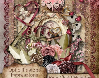 Digital Scrapbooking Kit - Impressions - My Love - Scrapbooking Kit - 15 Papers and 40 Plus Elements - 4.50