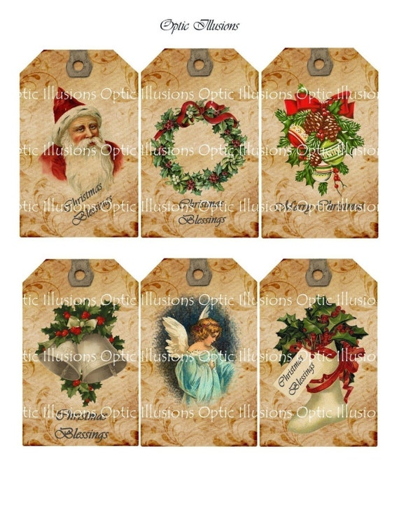 Christmas Gift Tags - Set of 6 - Vintage Illustrations - 2.5 x 4 inch. Plus extra sheet for the backside - INSTANT DOWNLOAD -2.50