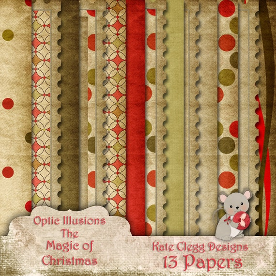 The Magic of Christmas - Digital Scrapbooking Paper Pack  - 13 Papers 12 x 12 -2.75