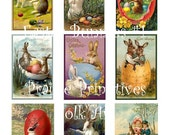 Digital Collage Sheet - Vintage Easter Bunny Rabbit Images - Printable PDF File - INSTANT DOWNLOAD