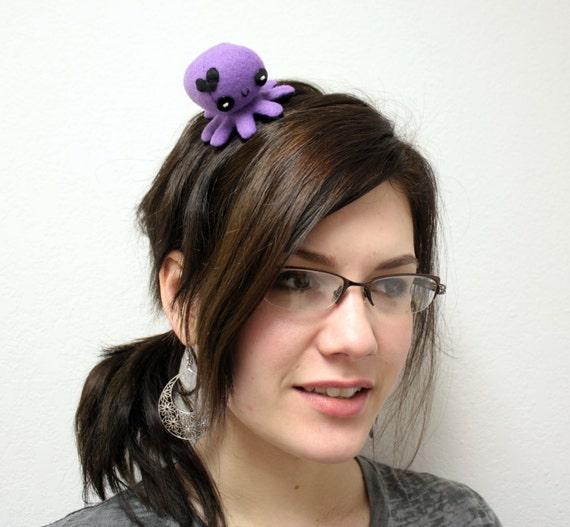 "Purple Love octopus hair clip - 2.5"""