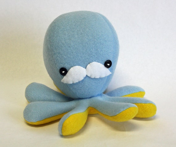 """Light blue octopus plushie with mustache - 7"""""""