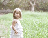 In Etsy Lookbook...Beautiful Organic Ivory Ruffle Dress..NB, 3m, 6m, 9m, 12m, 18m, 2T, 3T, 4T..dressbabybeautiful