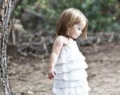 READY TO SHIP Size 2T-Beautiful Organic White Ruffle Dress....dressbabybeautiful