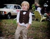 Brown Suiting Bow Tie..1-4 years..dressbabybeautiful