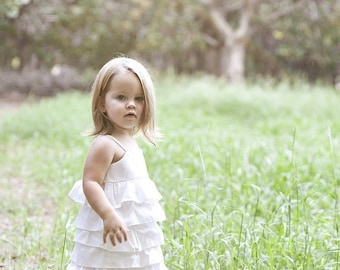 In Etsy Lookbook...Beautiful Organic Ivory Ruffle Dress..NB, 3m, 6m, 9m, 12m, 18m, 2T, 3T, 4T..dressbabybeautiful
