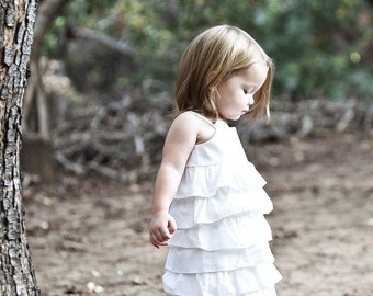 Beautiful Organic White Ruffle Dress.. sizes 5-8...dressbabybeautiful