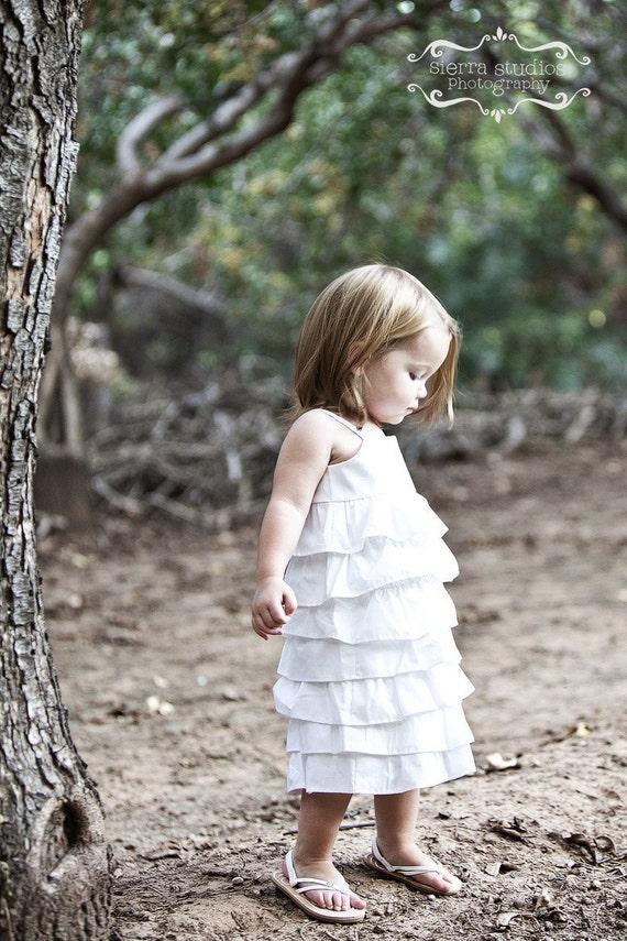 Beautiful Organic White Ruffle Dress.. sizes 5-8...dressbabybeautiful