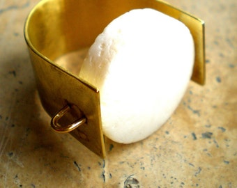 Brass White Stoned Ring