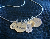 Mothers Necklace with Child Names - Sterling Silver Hand Stamped Charms on Sterling Silver