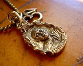 Inner Peace Talisman - Buddhist Amulets Bronze Monk and Brass Om on Antiqued Brass Bead Chain