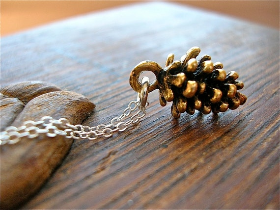 Small Wonder -  Petite Golden Pine Cone Charm Necklace on Sterling Chain