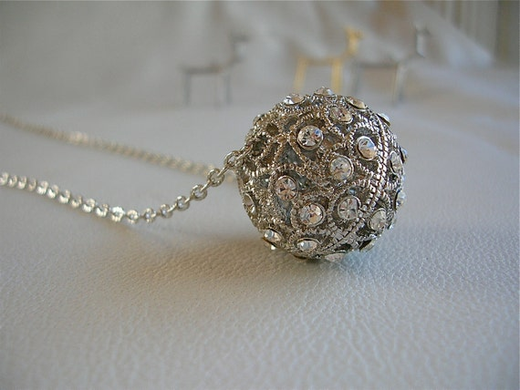 Inner Sparkle Necklace - Rhinestone Ball Large  on Silver Plate Chain