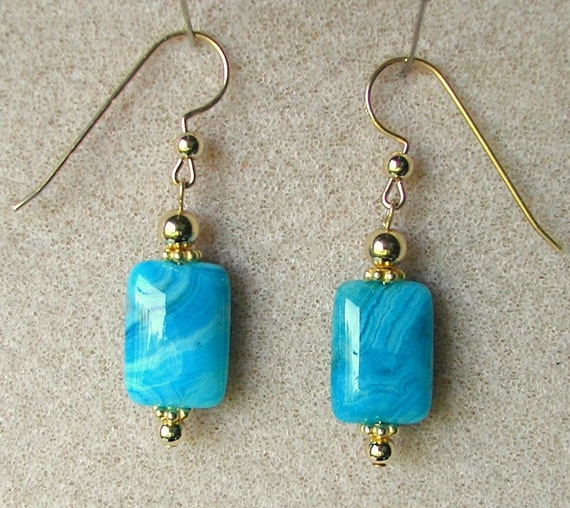 Earrings Blue Agate Dangles With 14K Gold Fill Accents