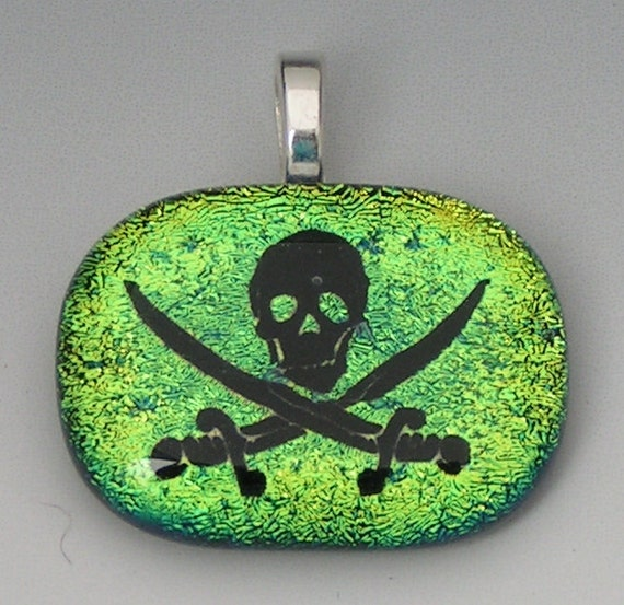 Lime Green Skull Crossed Swords Pirate Dichroic Glass Pendant w/cord