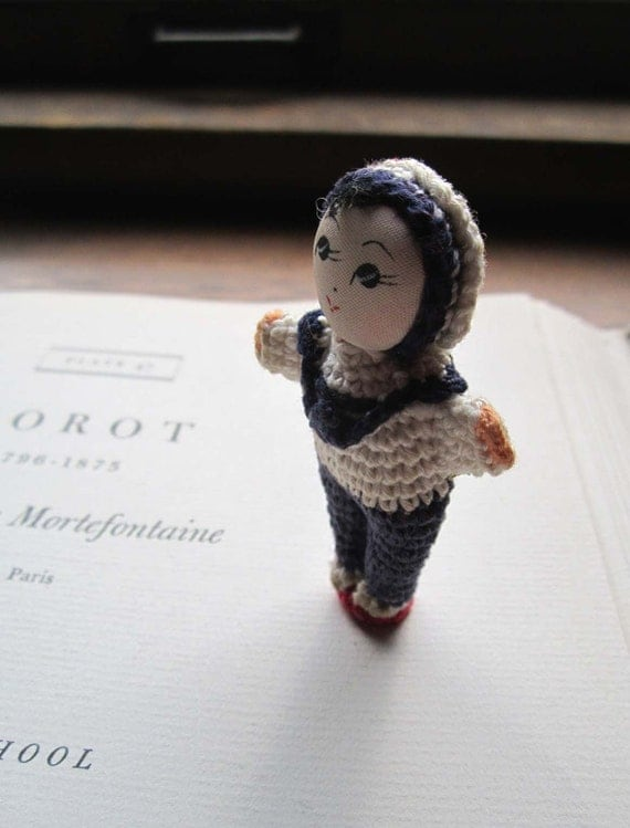 Tiny Vintage Crocheted Doll