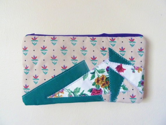 the coming up flowers and triangles clutch ... vintage fabric, eco-friendly zipper clutch