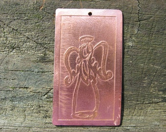 Etched copper pendant/ornament-sweet angel