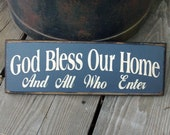 Wooden Sign God Bless Our Home and All Who Enter