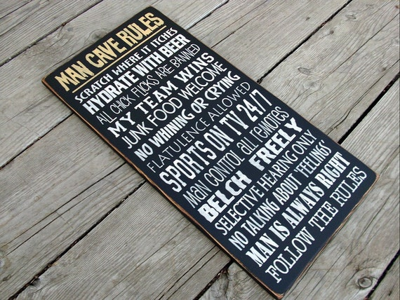 Large Man Cave Signs : Items similar to large wood sign man cave rules on etsy