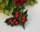 Vintage Upcycled Holly Berry Necklace *RESERVED*